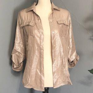 CALVIN KLEIN Gold/Silver 3/4 sleeve Button Up
